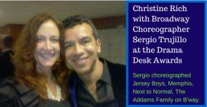 Christine Rich with Sergio Trujillo-Broadway-Choreographer at Drama Desk Awards