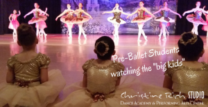 Pre-Ballet Students watching the older ballet dancers at Christine Rich Studio